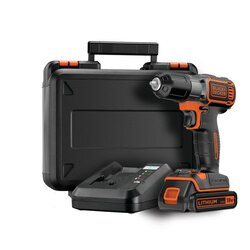 Black and Decker - 18v drill driver with Autosense and Autoselect technology Includes 1 battery 90 min fast charger and kit box - ASD18K