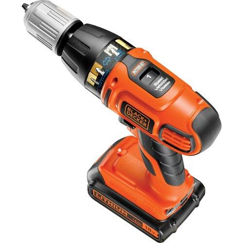 Black And Decker - 18V Lithiumion Autoselect Cordless Hammer Drill with Kit Box and two batteries - ASL188KB
