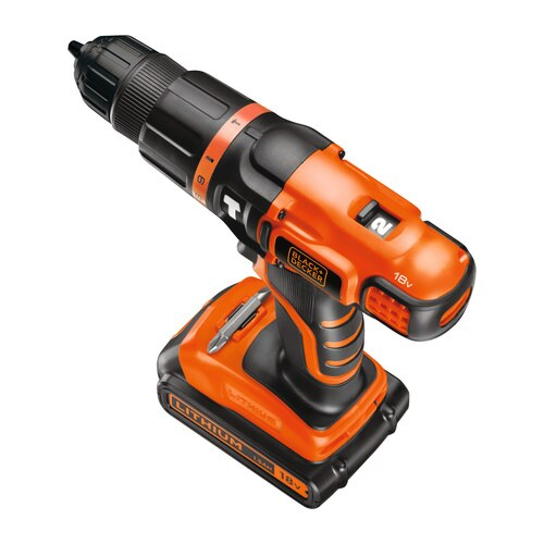 Black and Decker - 18V Lithiumion 2 Gear Cordless Hammer Drill with Kit Box - EGBL188K